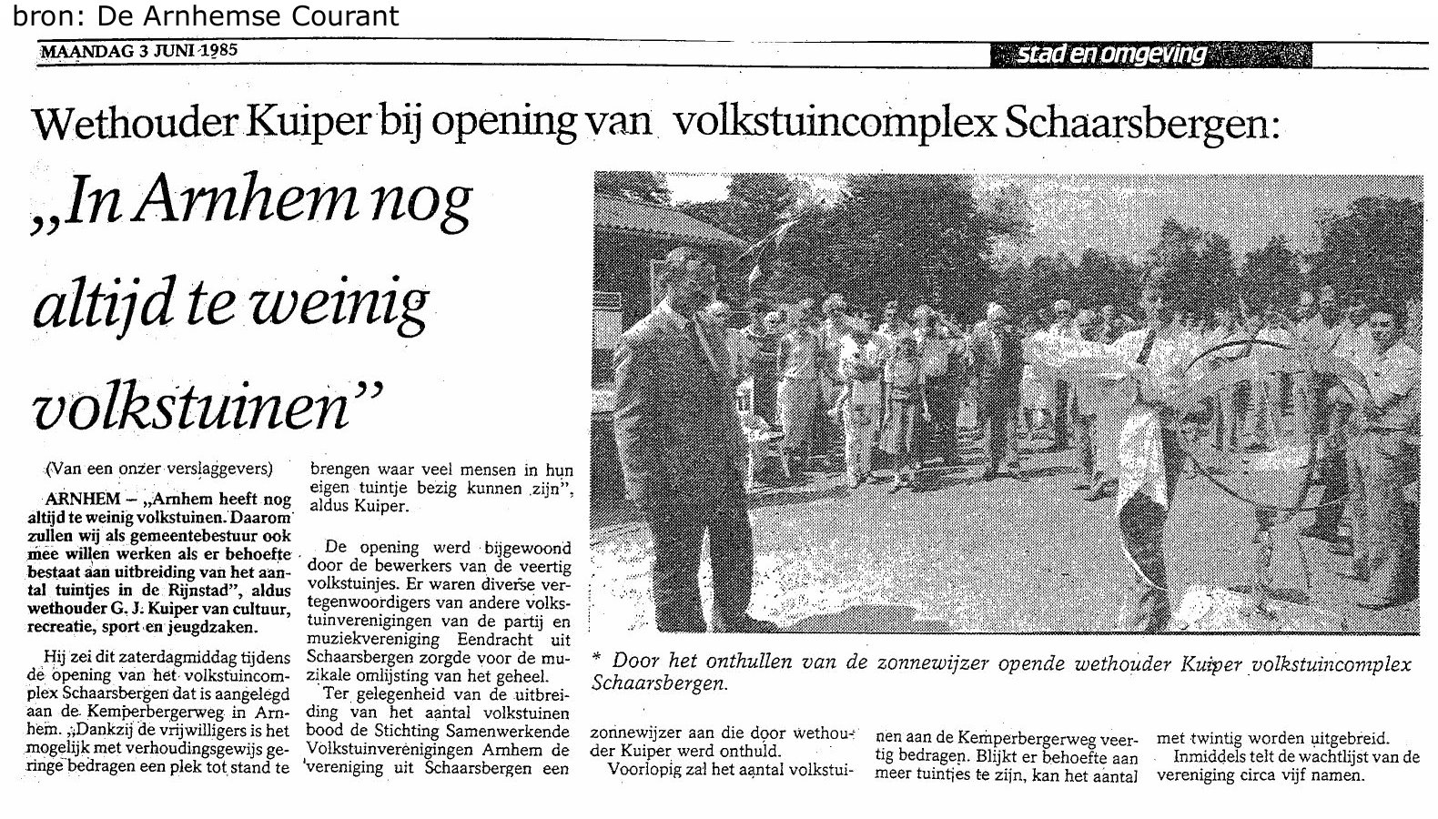 opening tuincomplex 1985